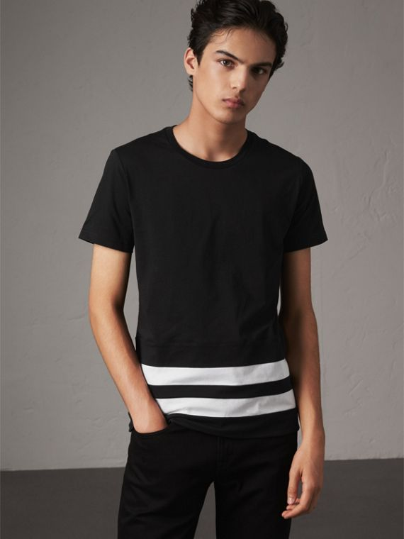 Striped Hem Cotton T-shirt in Black