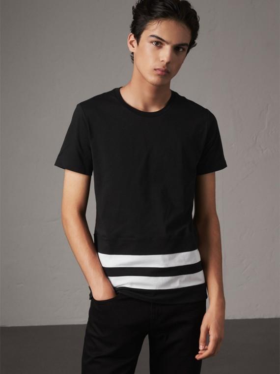 ストライプトへム コットンブレンド Tシャツ (ブラック)
