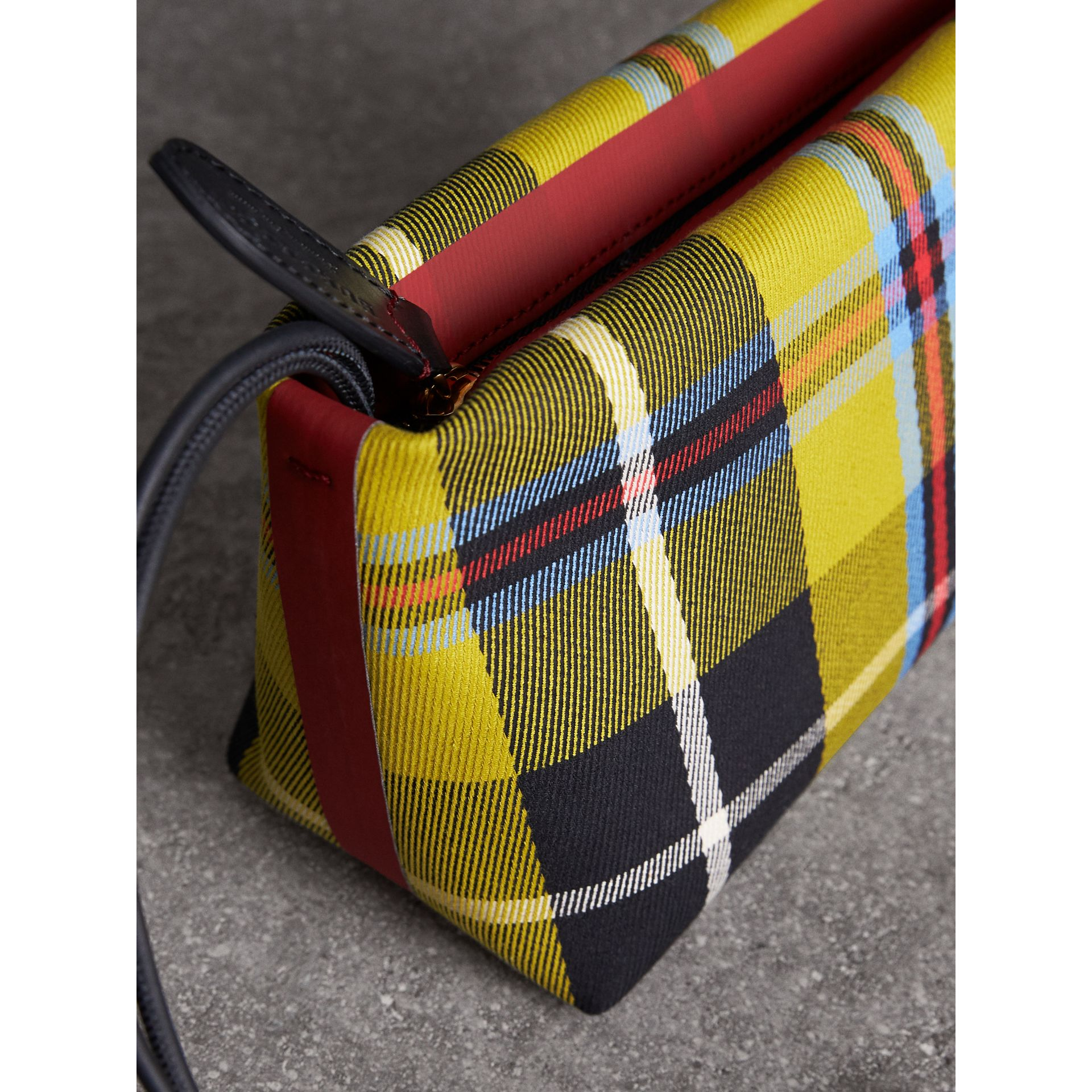 Tartan Cotton Clutch in Flax Yellow/caramel | Burberry Australia - gallery image 1