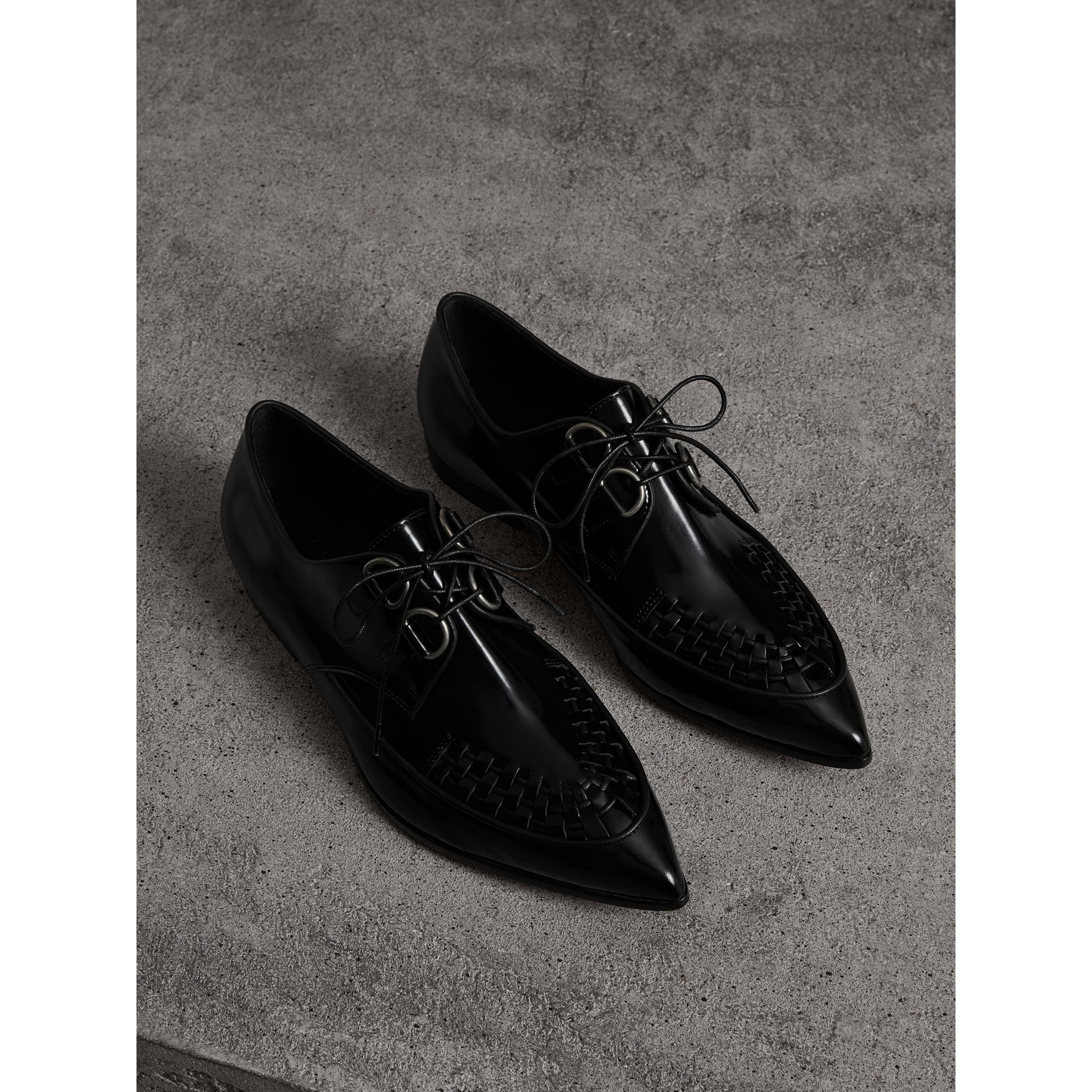 Woven-toe Polished Leather Derby Shoes in Black - Women | Burberry - gallery image 1