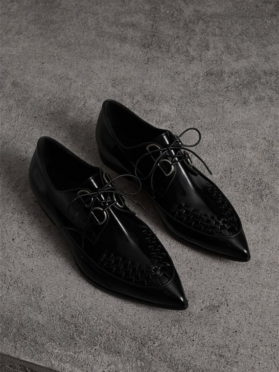 Woven-toe Polished Leather Derby Shoes in Black