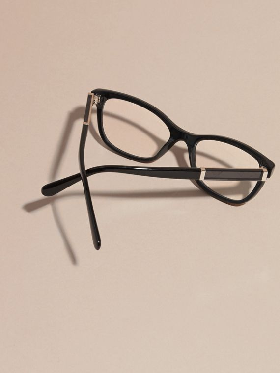 Black Check Detail Oval Optical Frames Black - cell image 3