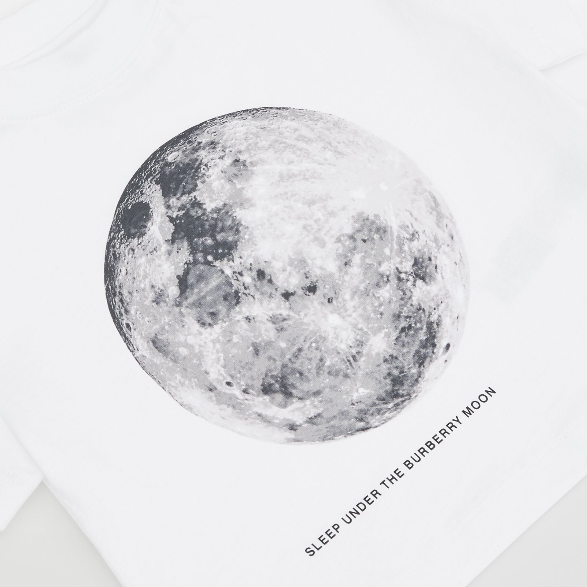 Moon Print Cotton T-shirt in White - Children | Burberry - gallery image 1