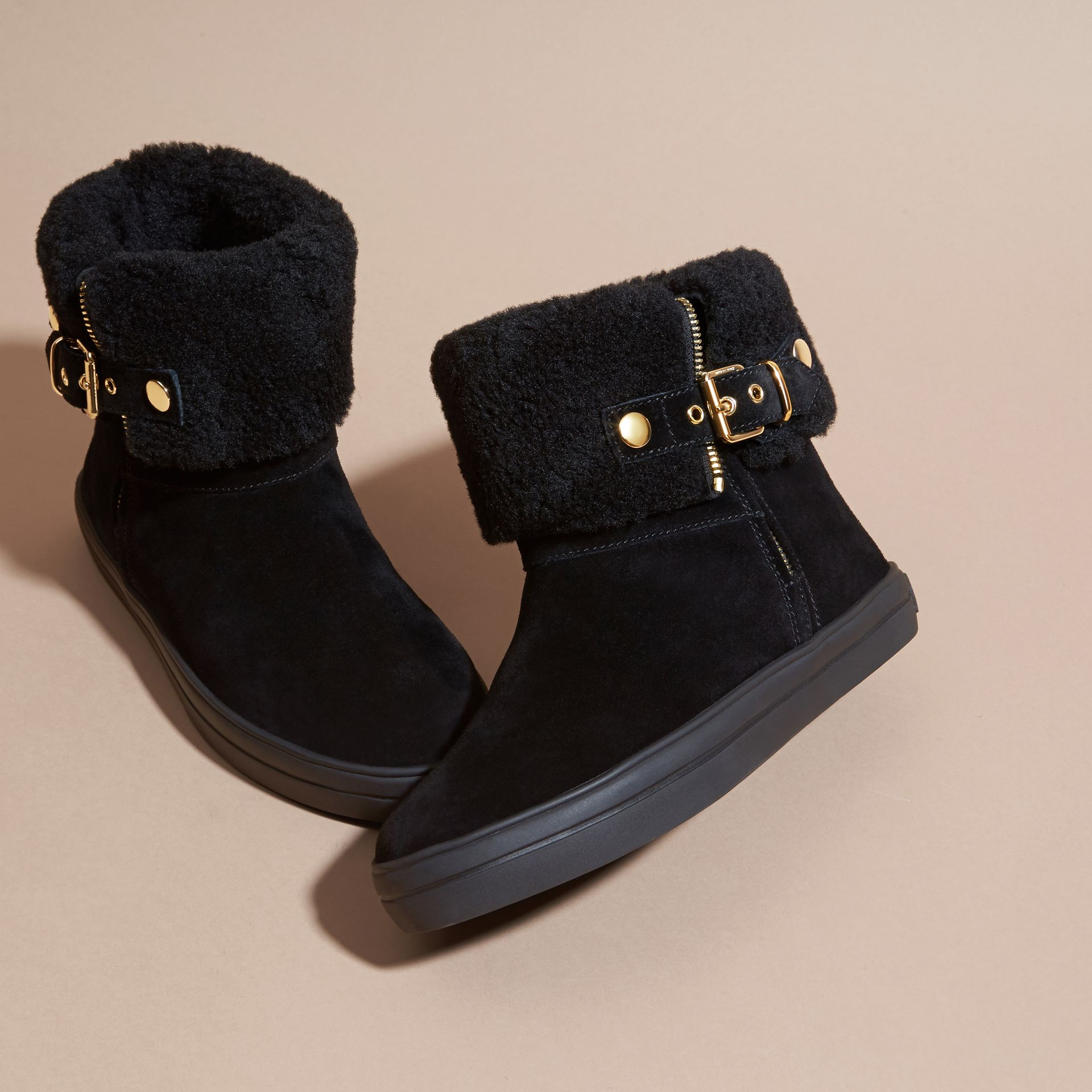 Shearling-lined Suede Ankle Boots in Black - Women | Burberry Canada - gallery image 3