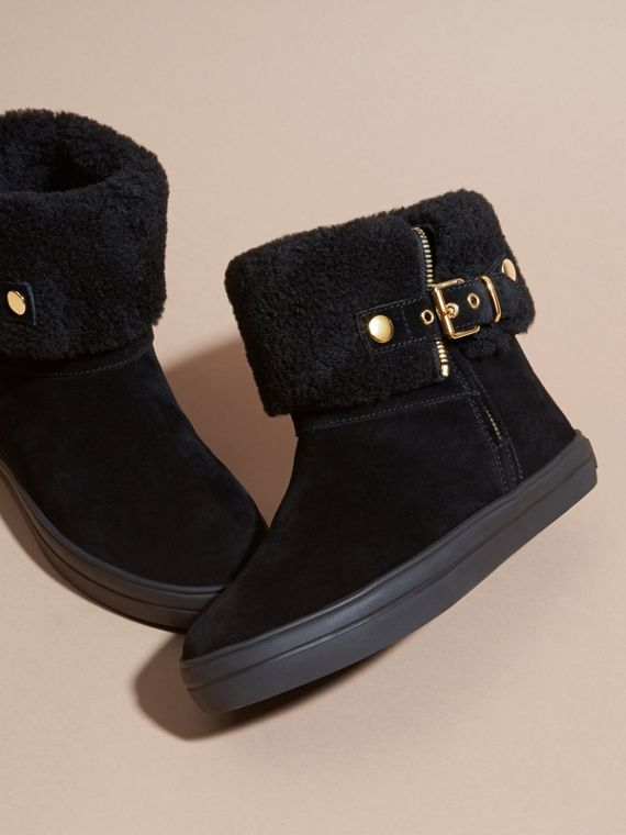 Shearling-lined Suede Ankle Boots in Black - Women | Burberry - cell image 2