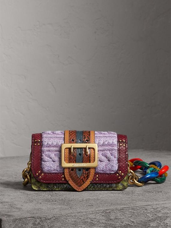 Sac The Patchwork en cuir exotique, maille de laine et cachemire (Vert Cuivre)