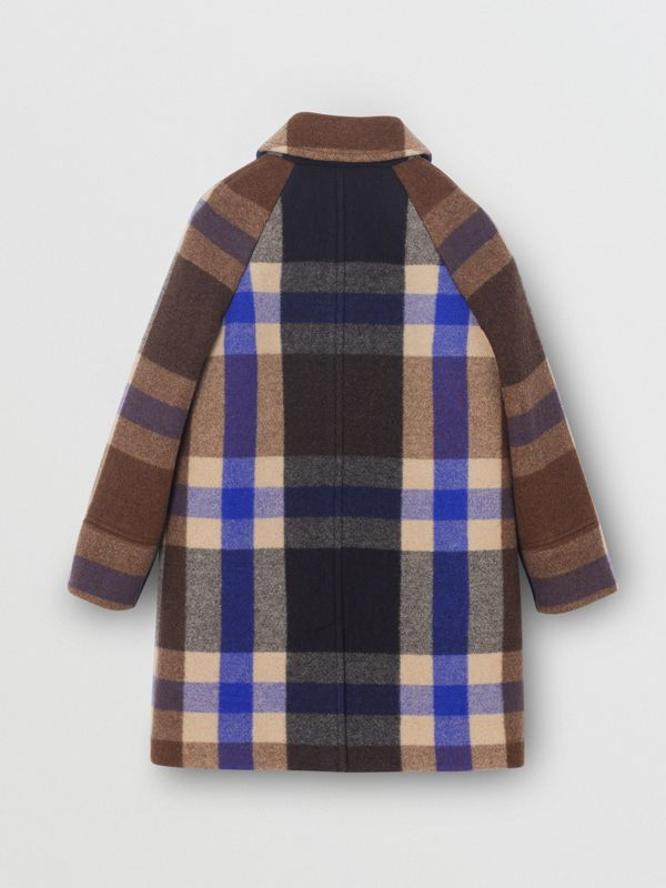 Check Wool Cashmere Blend Car Coat in Bright Navy | Burberry Singapore - cell image 3
