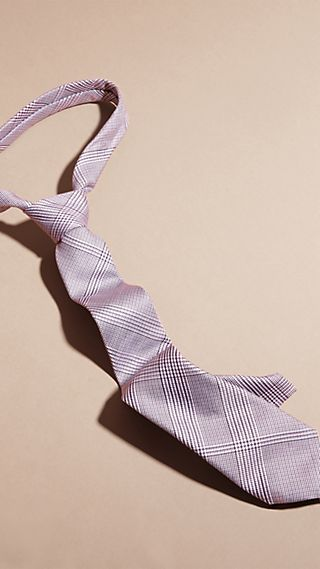 Slim Cut Check Cotton Silk Tie