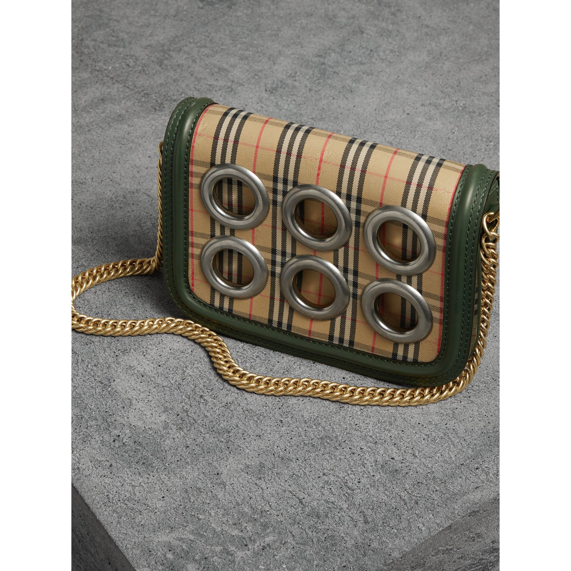 The 1983 Check Link Bag with Grommet Detail in Dark Forest Green - Women | Burberry - gallery image 6