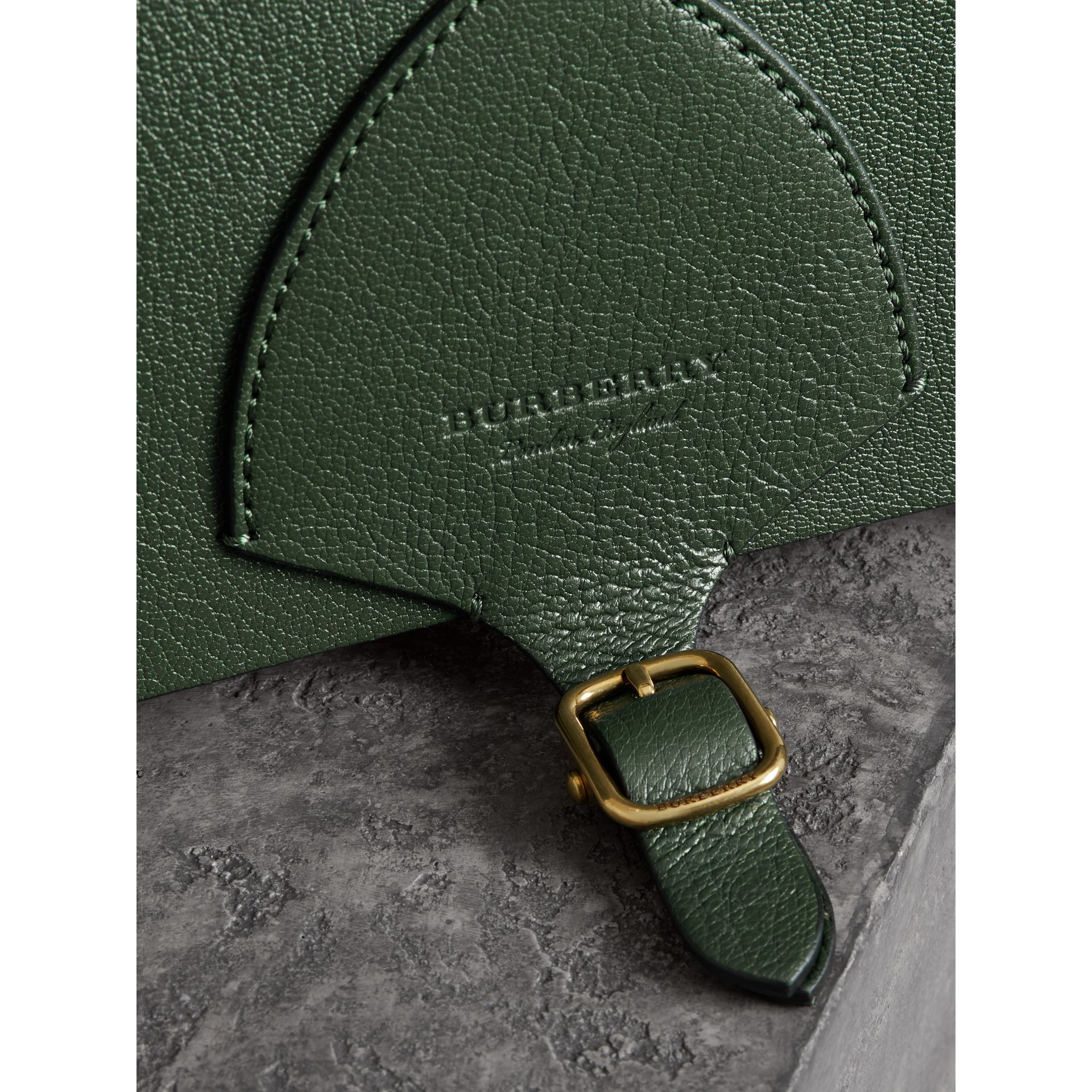 The Square Satchel in Leather in Dark Forest Green - Women | Burberry United Kingdom - gallery image 1