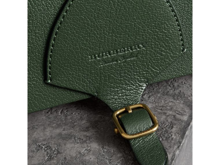 The Square Satchel in Leather in Dark Forest Green - Women | Burberry Australia - cell image 1