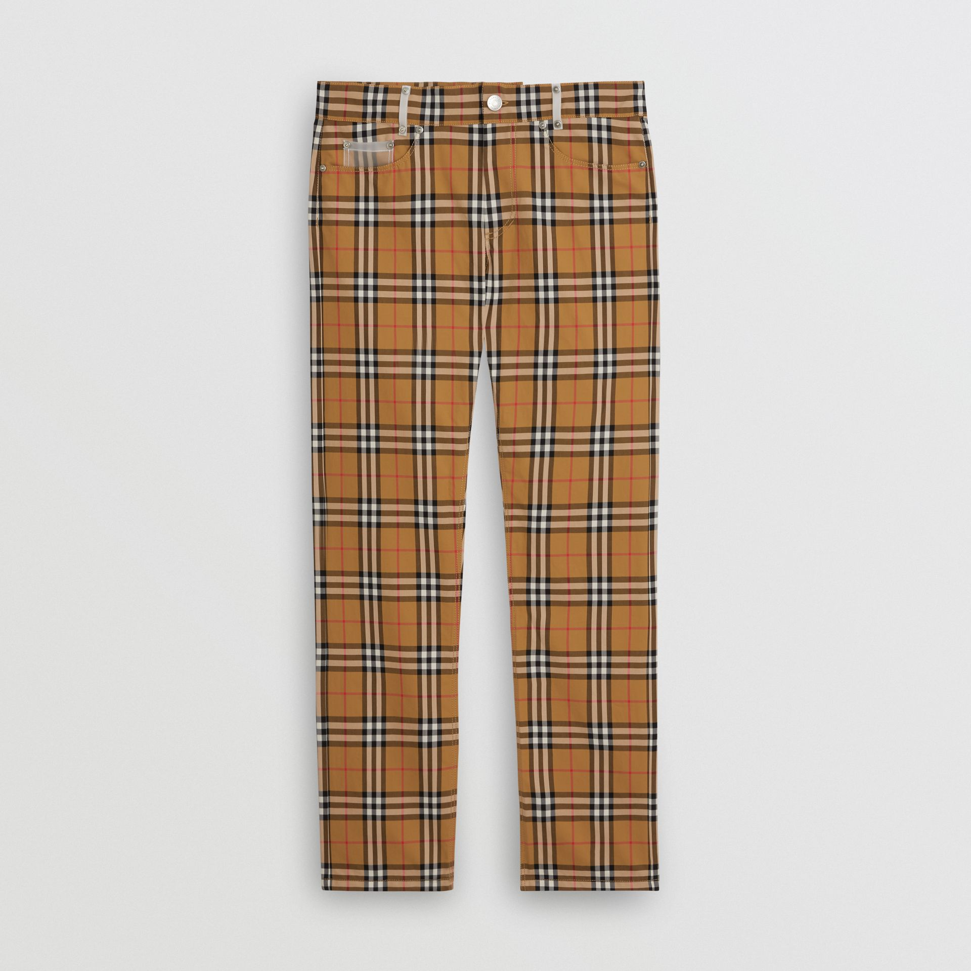 Zip Detail Vintage Check Cotton Trousers in Antique Yellow - Men | Burberry - gallery image 3