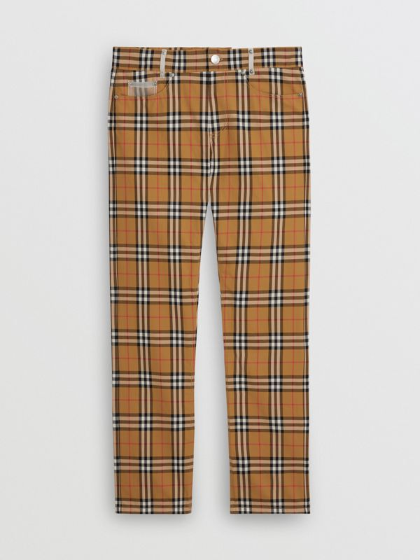 Zip Detail Vintage Check Cotton Trousers in Antique Yellow | Burberry - cell image 3