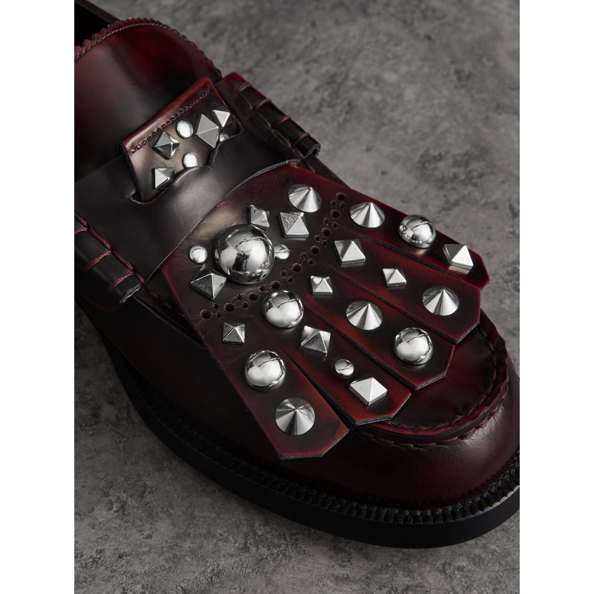 Stud Detail Kiltie Fringe Leather Loafers in Bordeaux - Men | Burberry - gallery image 1