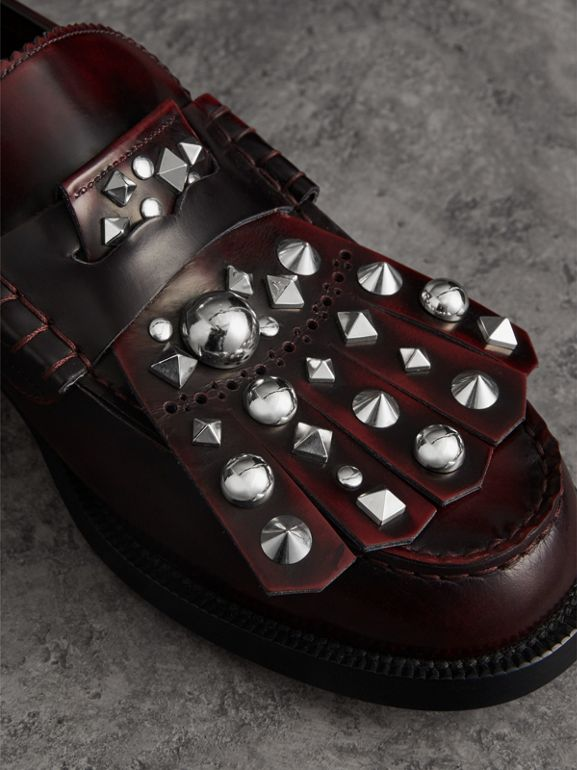 Stud Detail Kiltie Fringe Leather Loafers in Bordeaux - Men | Burberry Hong Kong - cell image 1