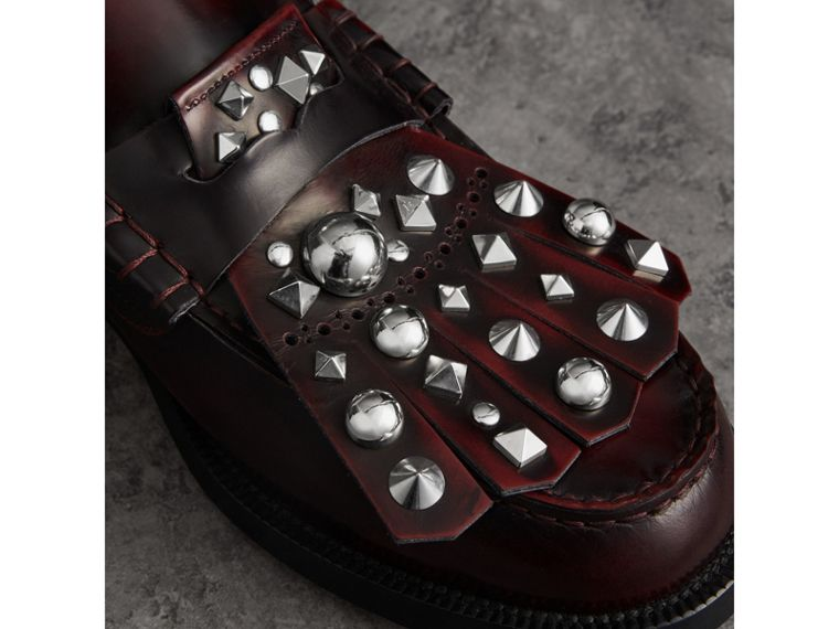 Stud Detail Kiltie Fringe Leather Loafers in Bordeaux - Men | Burberry - cell image 1