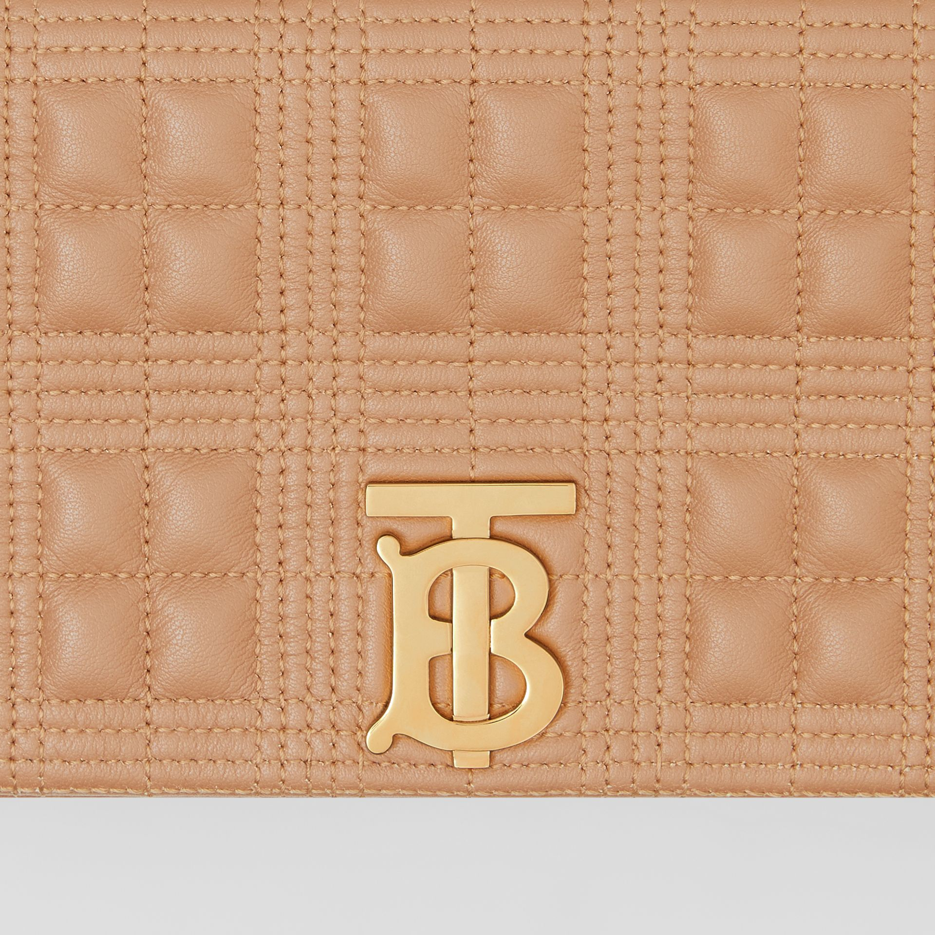 Small Quilted Check Lambskin Lola Bag in Camel | Burberry United Kingdom - gallery image 1
