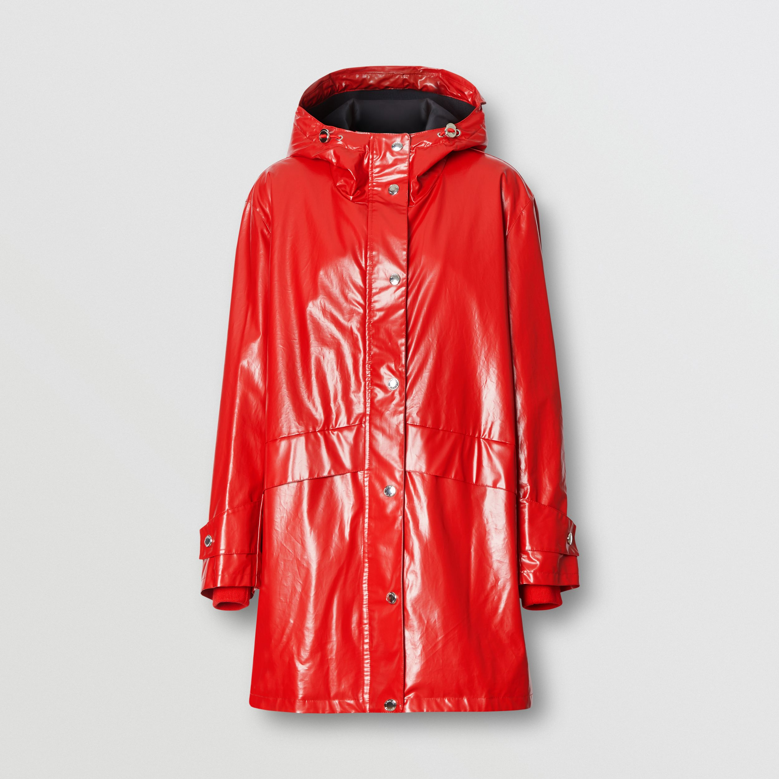 Horseferry Print Coated Jersey Parka in Bright Red - Women | Burberry - 4