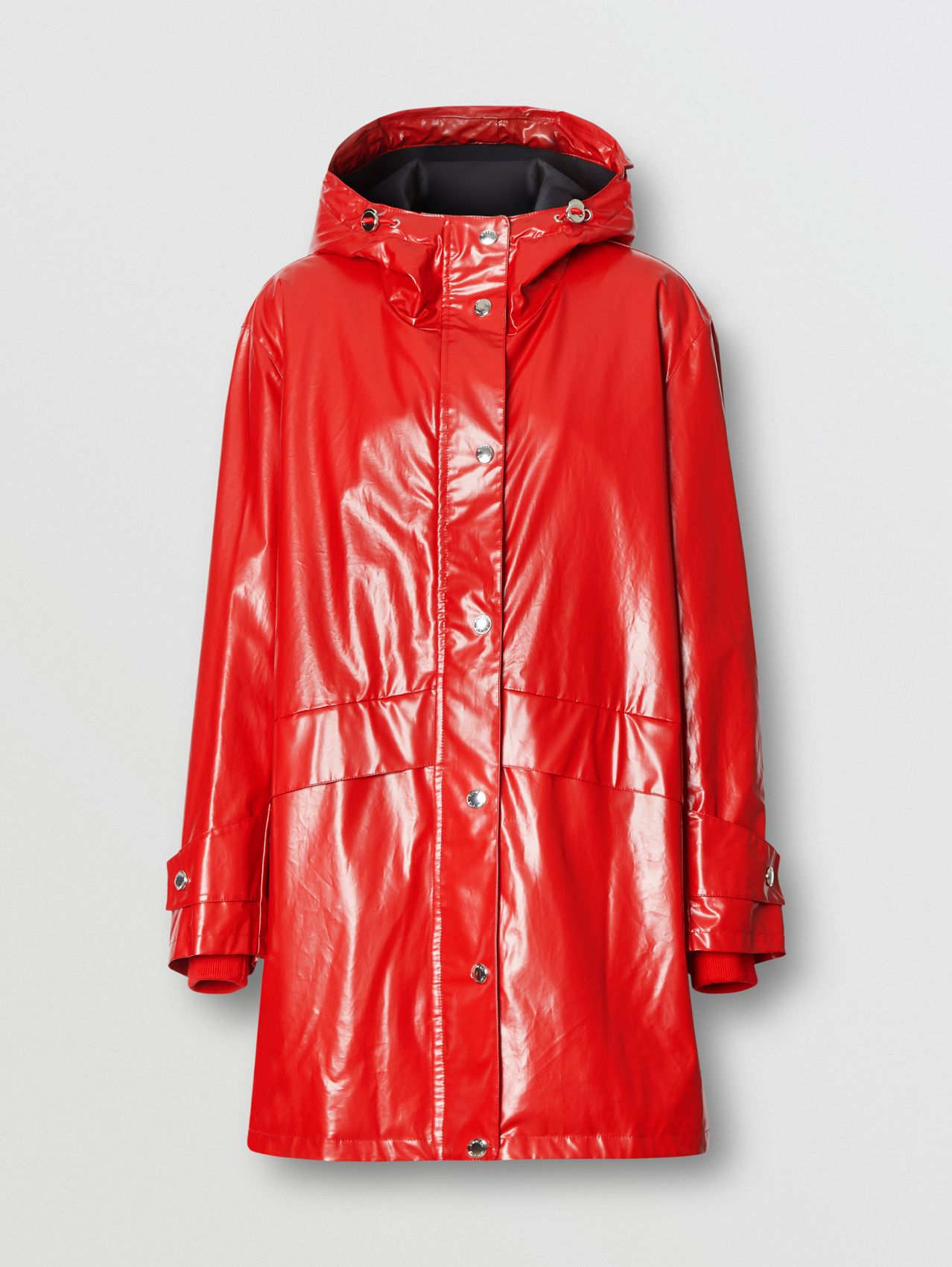 Horseferry Print Coated Jersey Parka in Bright Red