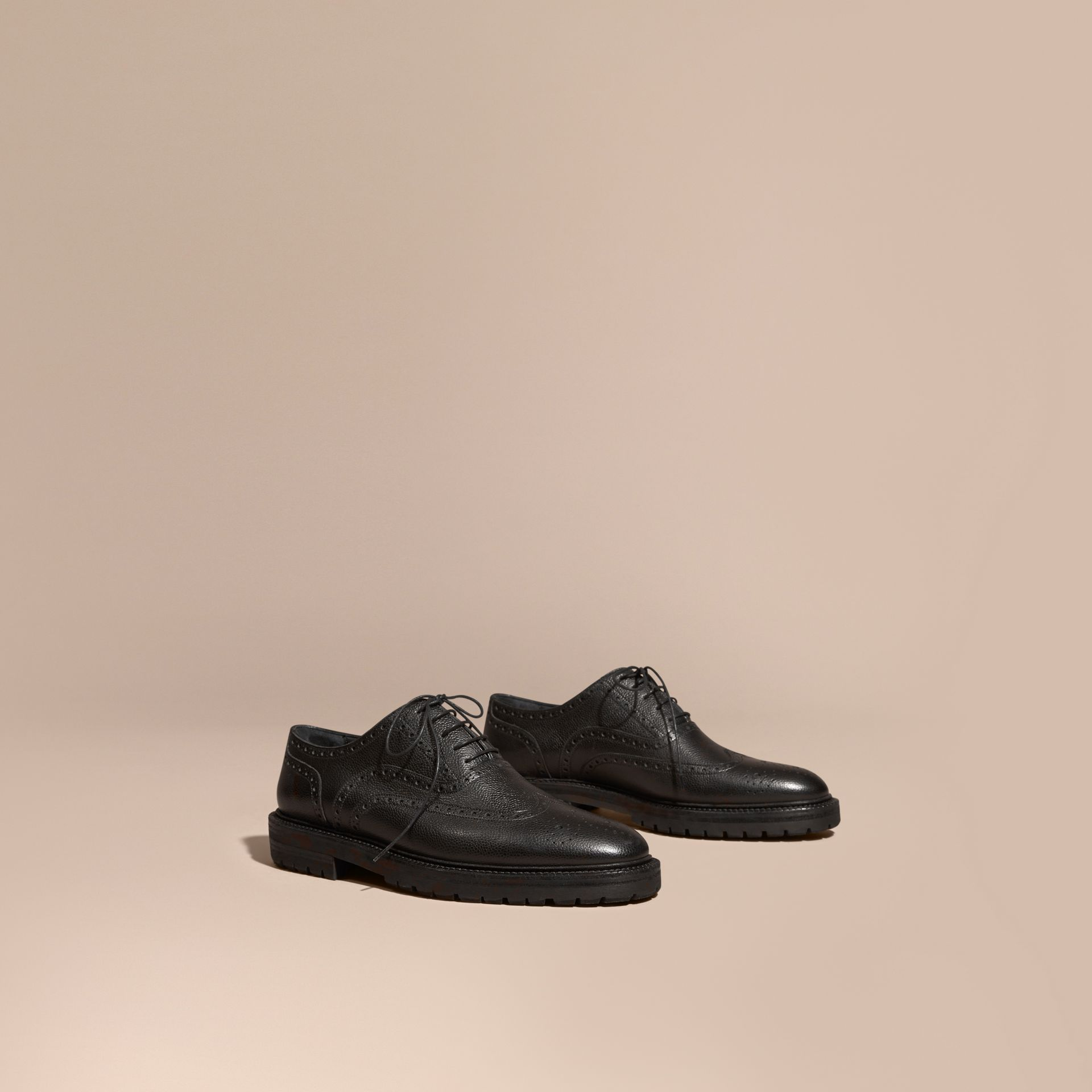 Black Grainy Leather Wingtip Brogue with Rubber Sole Black - gallery image 1
