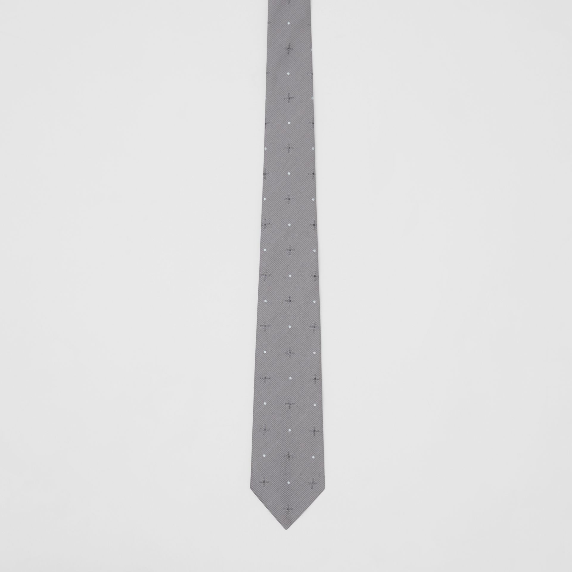 Classic Cut Graphic Silk Wool Jacquard Tie in Mid Grey - Men | Burberry United States - gallery image 3