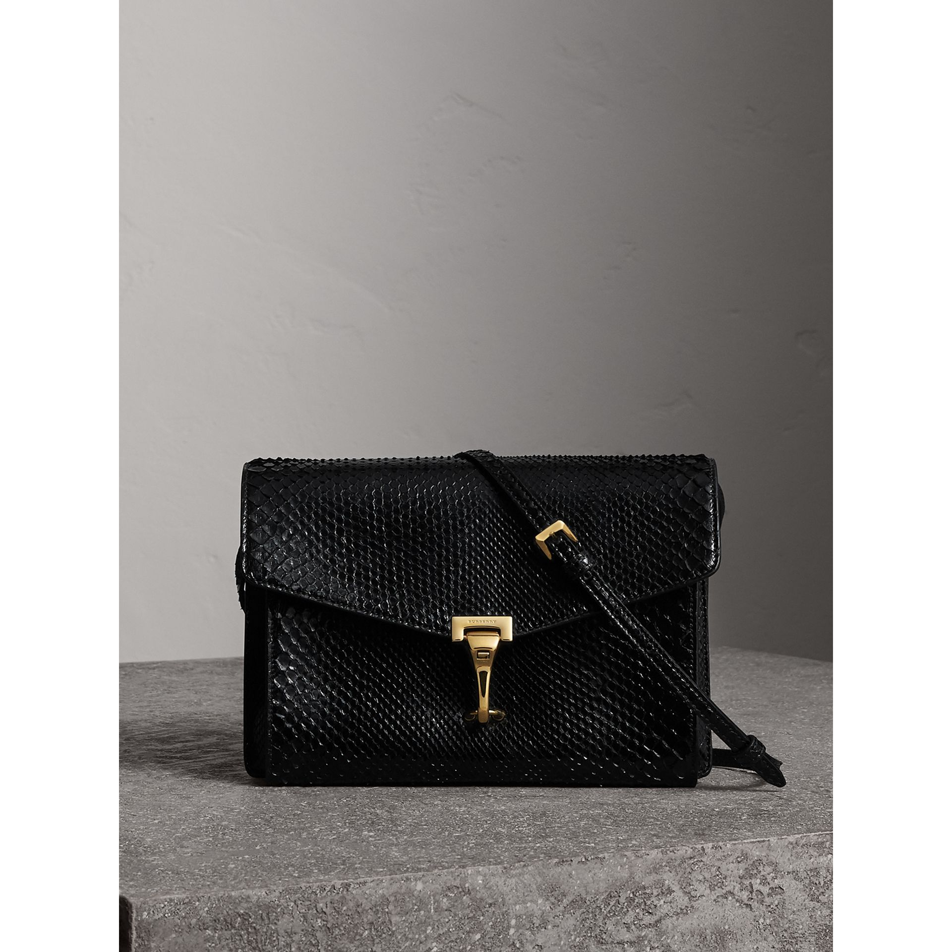 Small Python Crossbody Bag in Black - Women | Burberry United Kingdom - gallery image 0