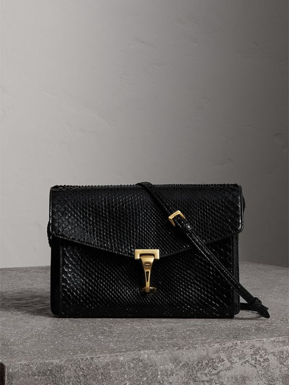 Small Python Crossbody Bag in Black