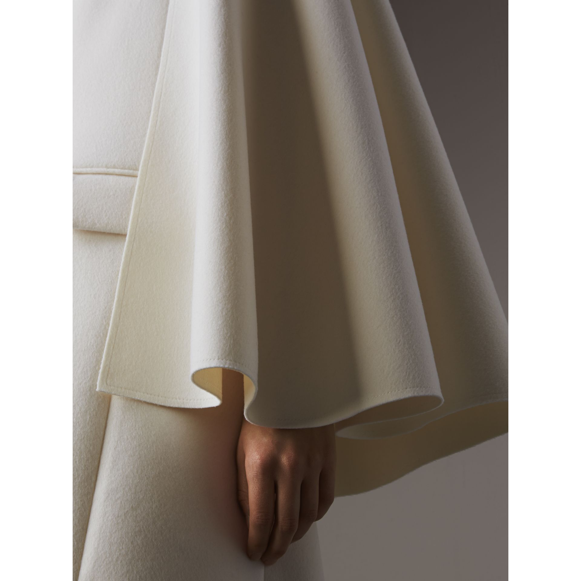 Double-faced Wool Cape Coat in White - Women | Burberry - gallery image 2
