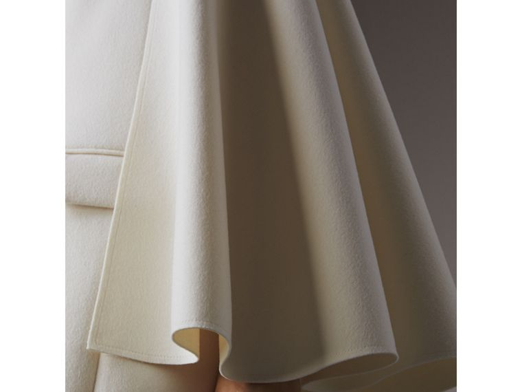 Double-faced Wool Cape Coat in White - Women | Burberry - cell image 1
