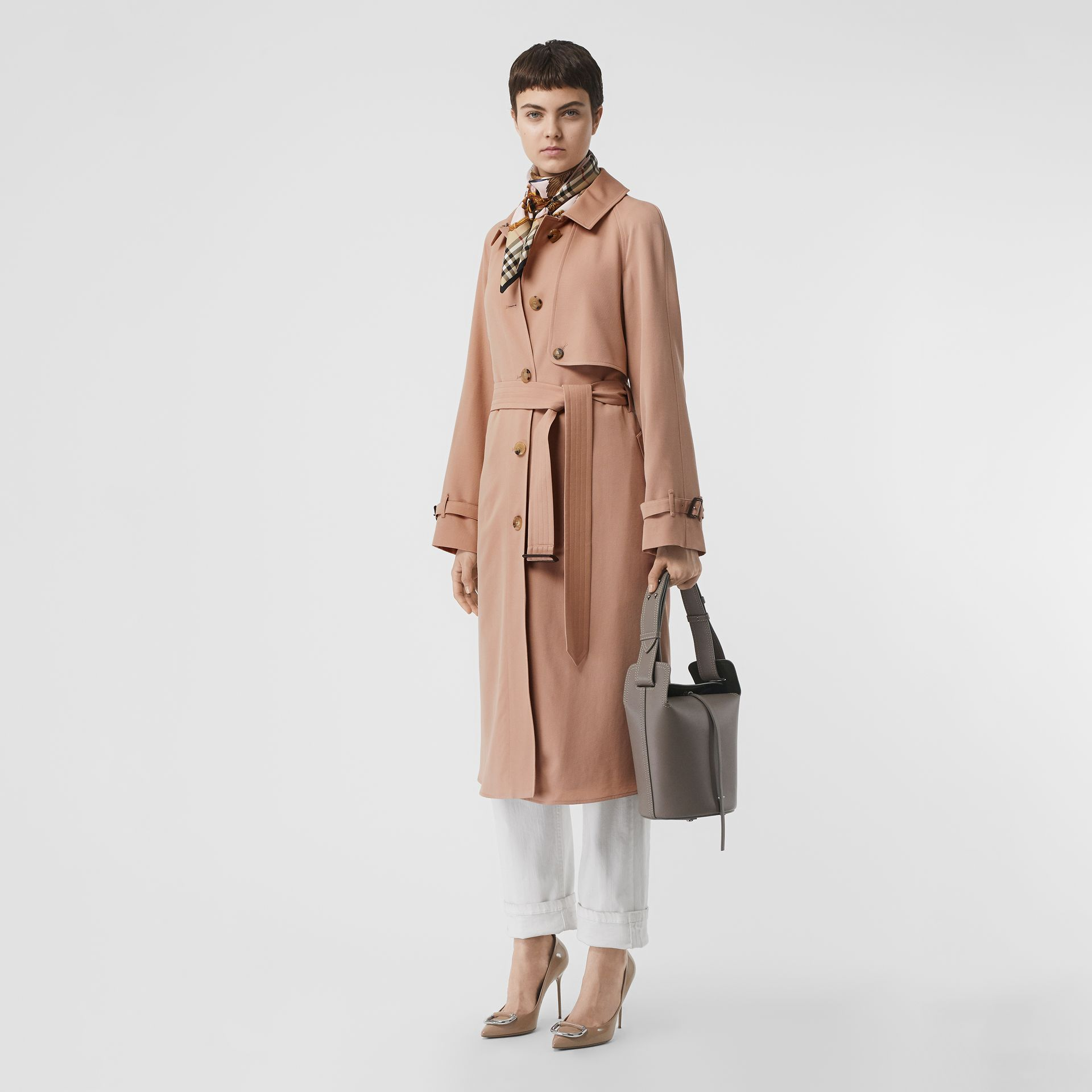 Wool Gabardine Trench Coat in Blush Pink - Women | Burberry - gallery image 0