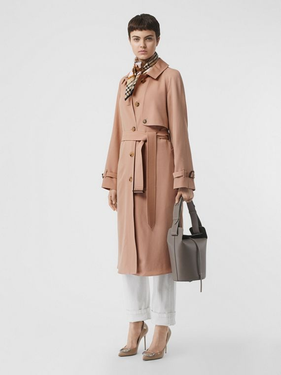 Wool Gabardine Trench Coat in Blush Pink