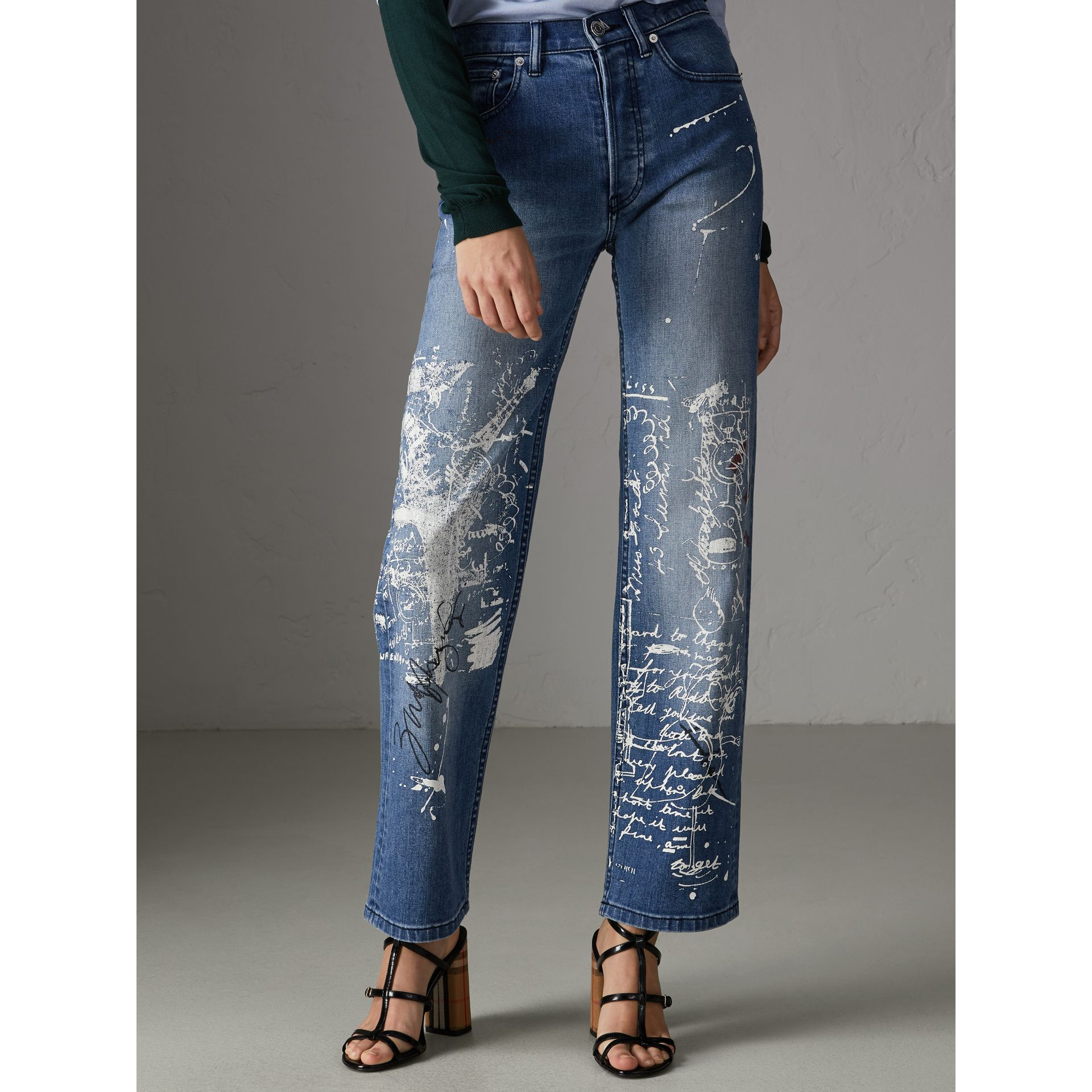 Straight Fit Postcard Print Stretch Denim Jeans in True Indigo Melange - Women | Burberry - gallery image 5