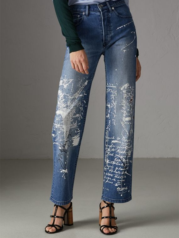 Straight Fit Postcard Print Stretch Jeans in True Indigo Melange