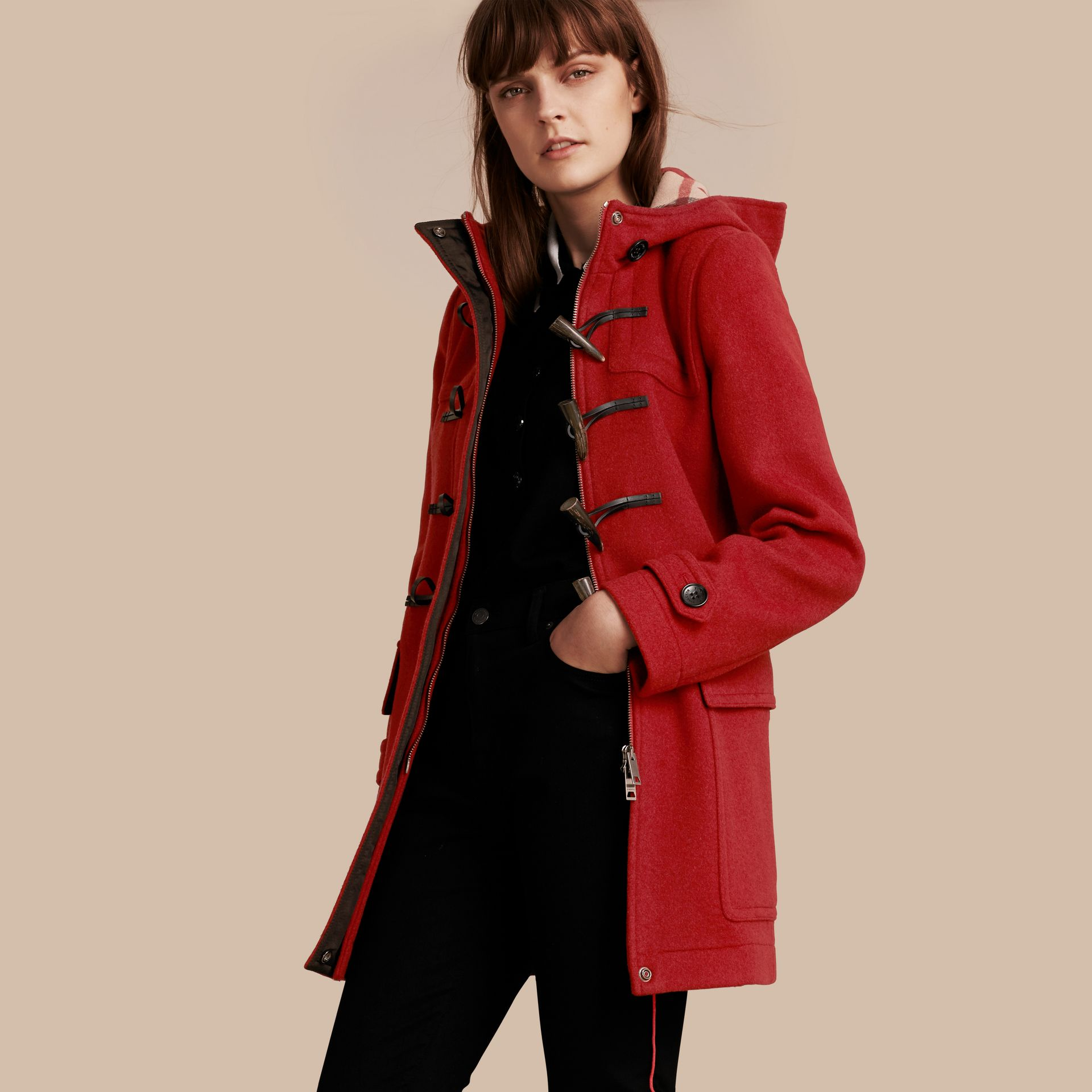 Windsor red Wool Duffle Coat with Check and Hearts Lining Windsor Red - gallery image 1