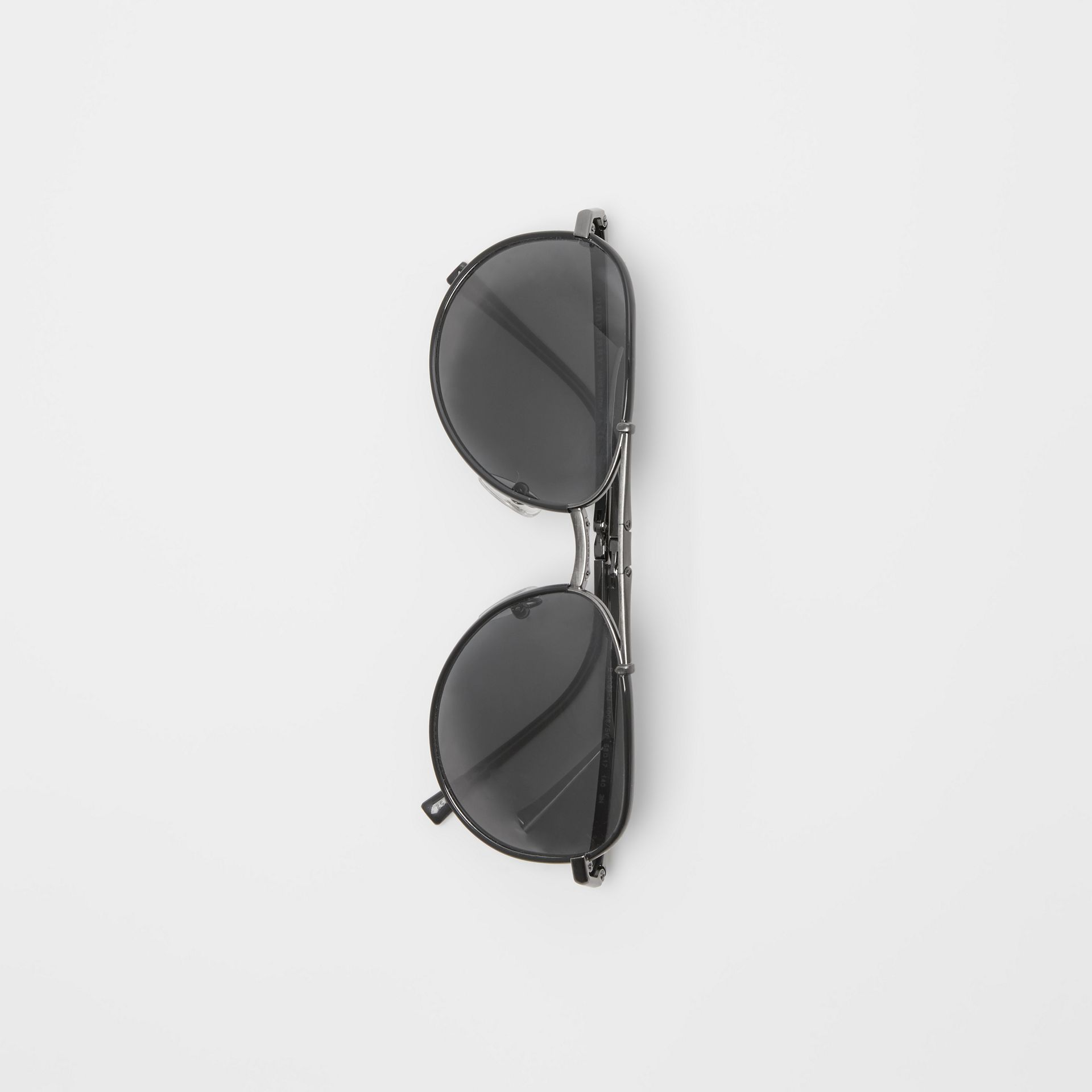 Folding Pilot Sunglasses in Black - Men | Burberry Australia - gallery image 3