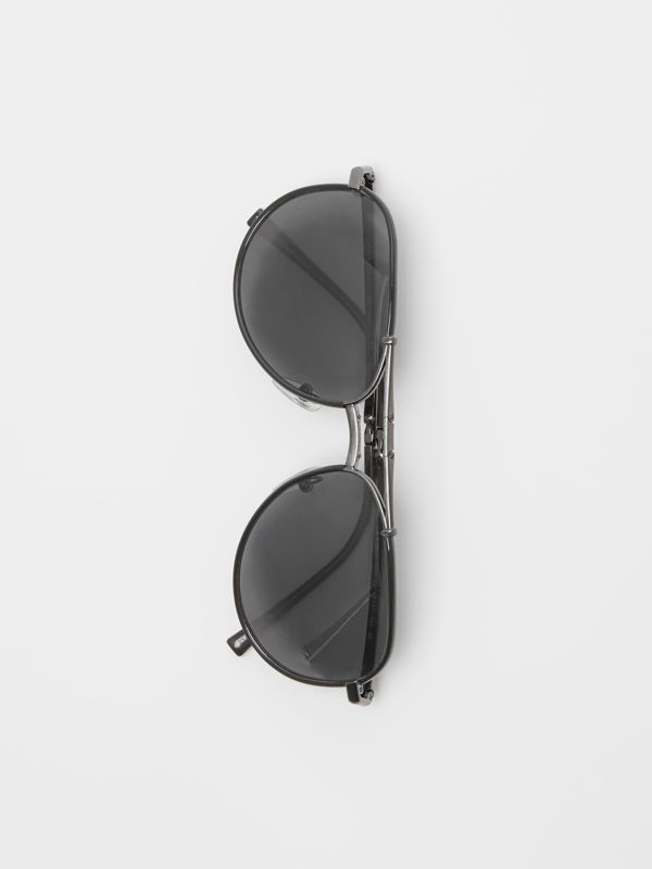 Folding Pilot Sunglasses in Black - Men | Burberry Australia - cell image 3