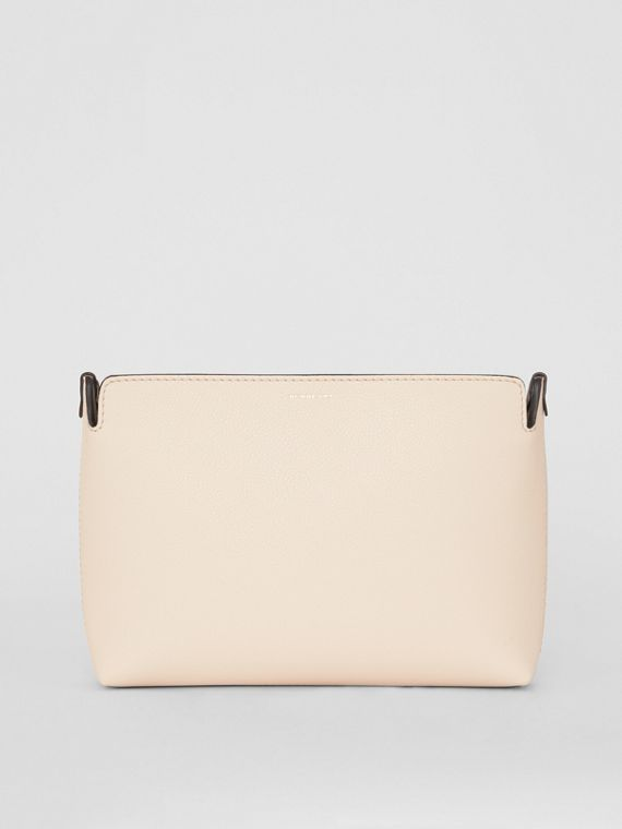 Medium Tri-tone Leather Clutch in Limestone/cornflower Yellow