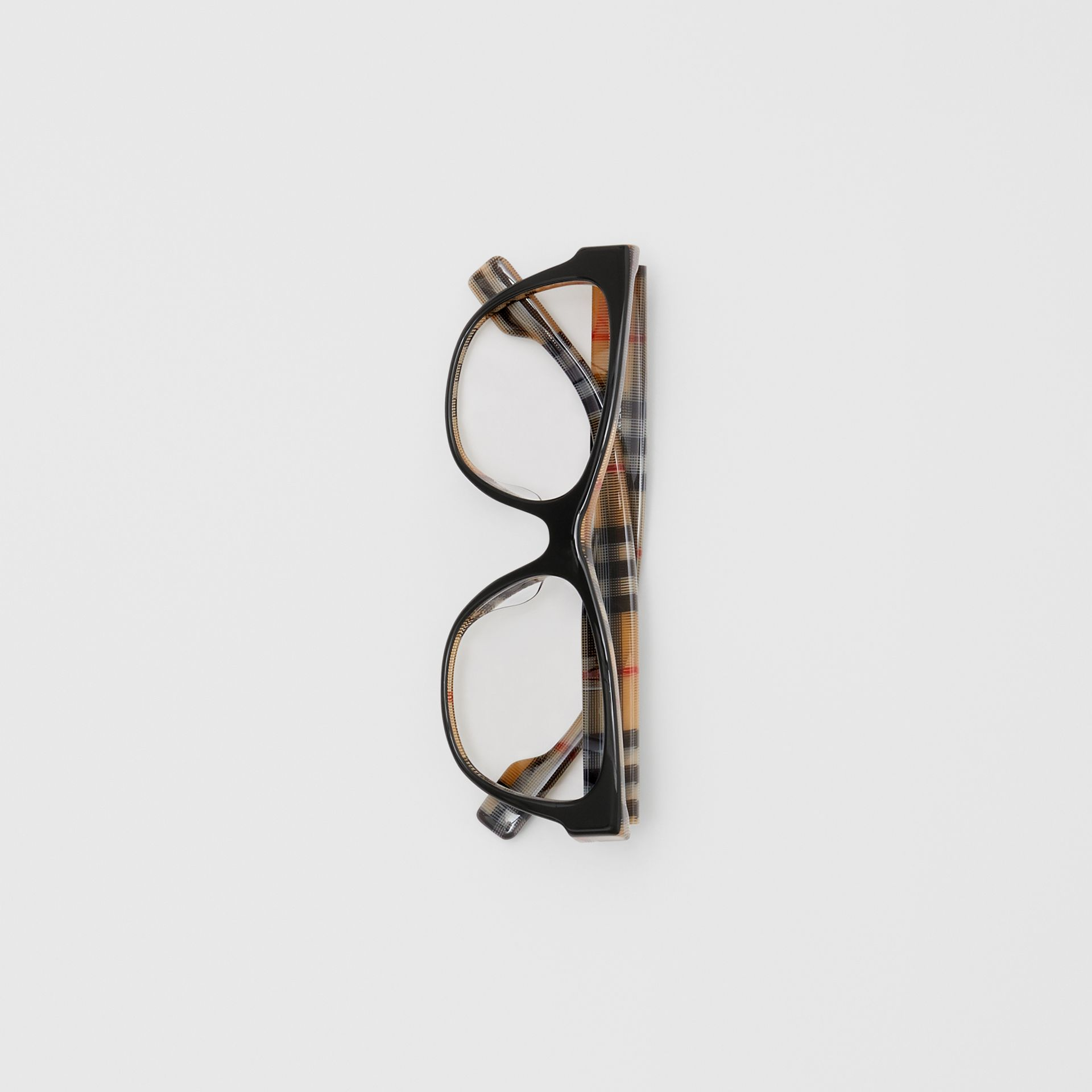 Vintage Check Detail Square Optical Frames in Black/beige - Women | Burberry - gallery image 3