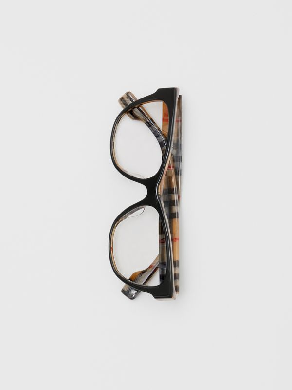 Vintage Check Detail Square Optical Frames in Black/beige - Women | Burberry - cell image 3