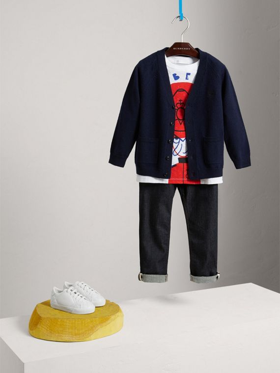 Check Detail Merino Wool Cardigan in Navy - Boy | Burberry - cell image 2