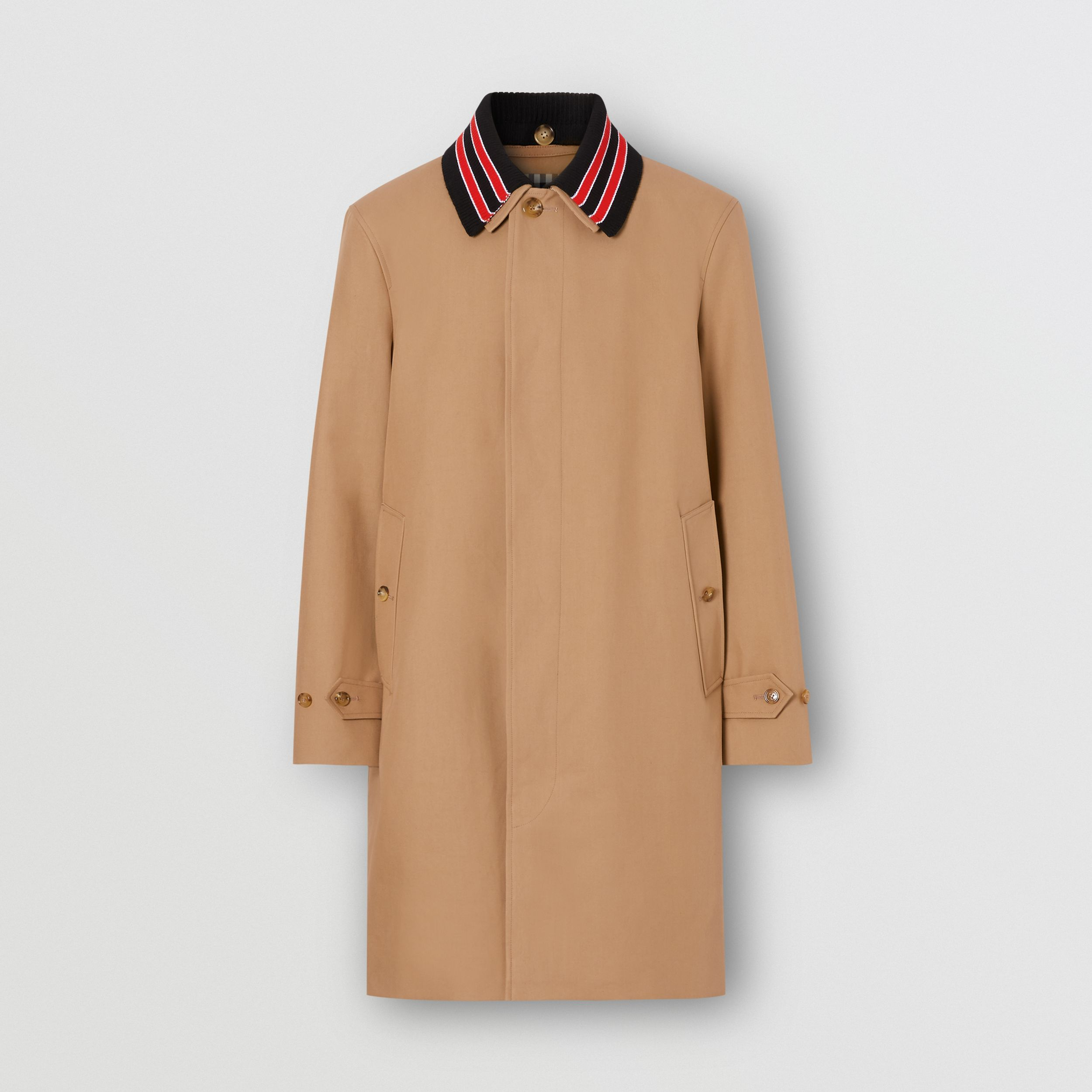 Detachable Striped Collar Cotton Car Coat in Warm Walnut - Men | Burberry - 4