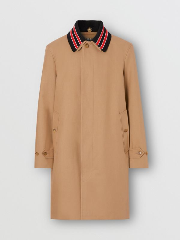 Detachable Striped Collar Cotton Car Coat in Warm Walnut - Men | Burberry - cell image 3