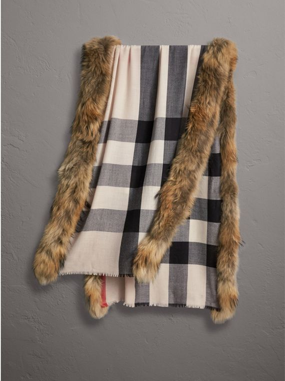 Raccoon Trim Check Wool Cashmere Scarf in Stone