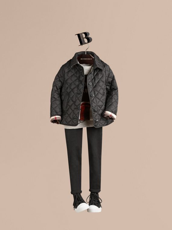 Check Lined Diamond Quilted Jacket in Black - Girl | Burberry