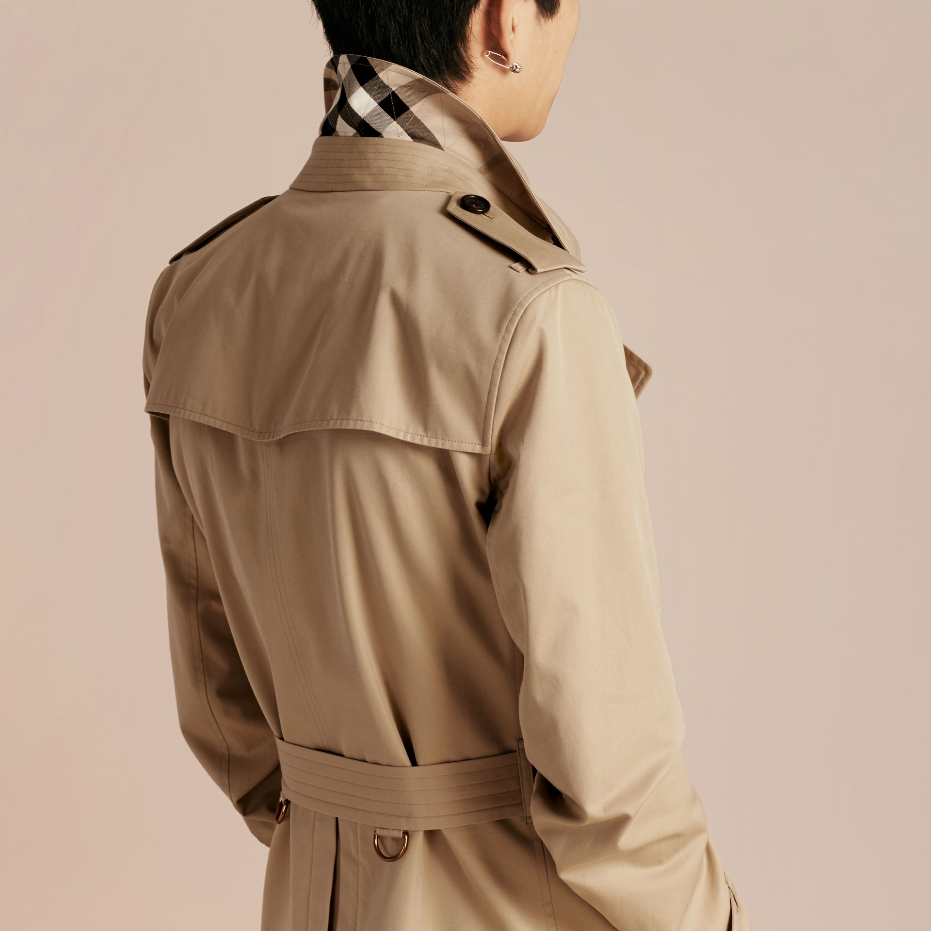 Detachable Shearling Topcollar Cotton Gabardine Trench Coat with Warmer in Honey - gallery image 6