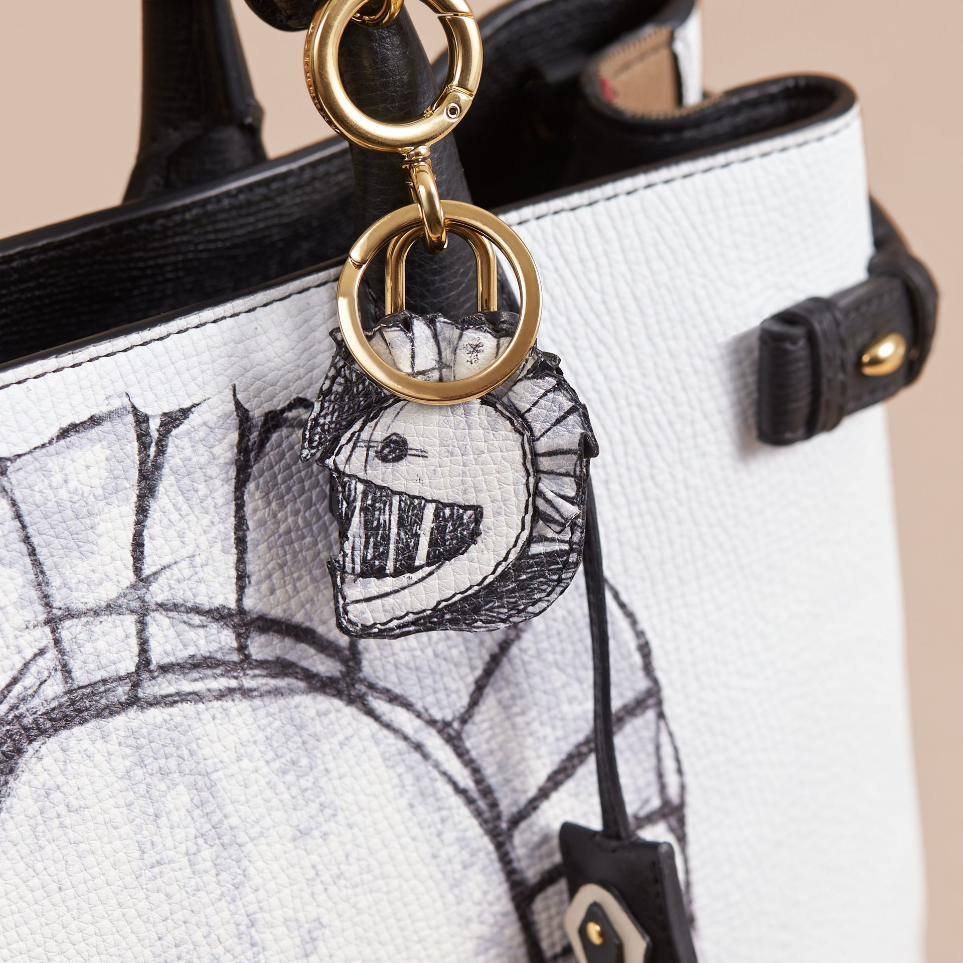 Pallas Helmet Motif Leather Key Charm with Padlock in Black/white - Women | Burberry - gallery image 2