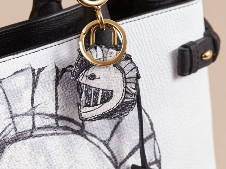 Pallas Helmet Motif Leather Key Charm with Padlock in Black/white - Women | Burberry - cell image 1