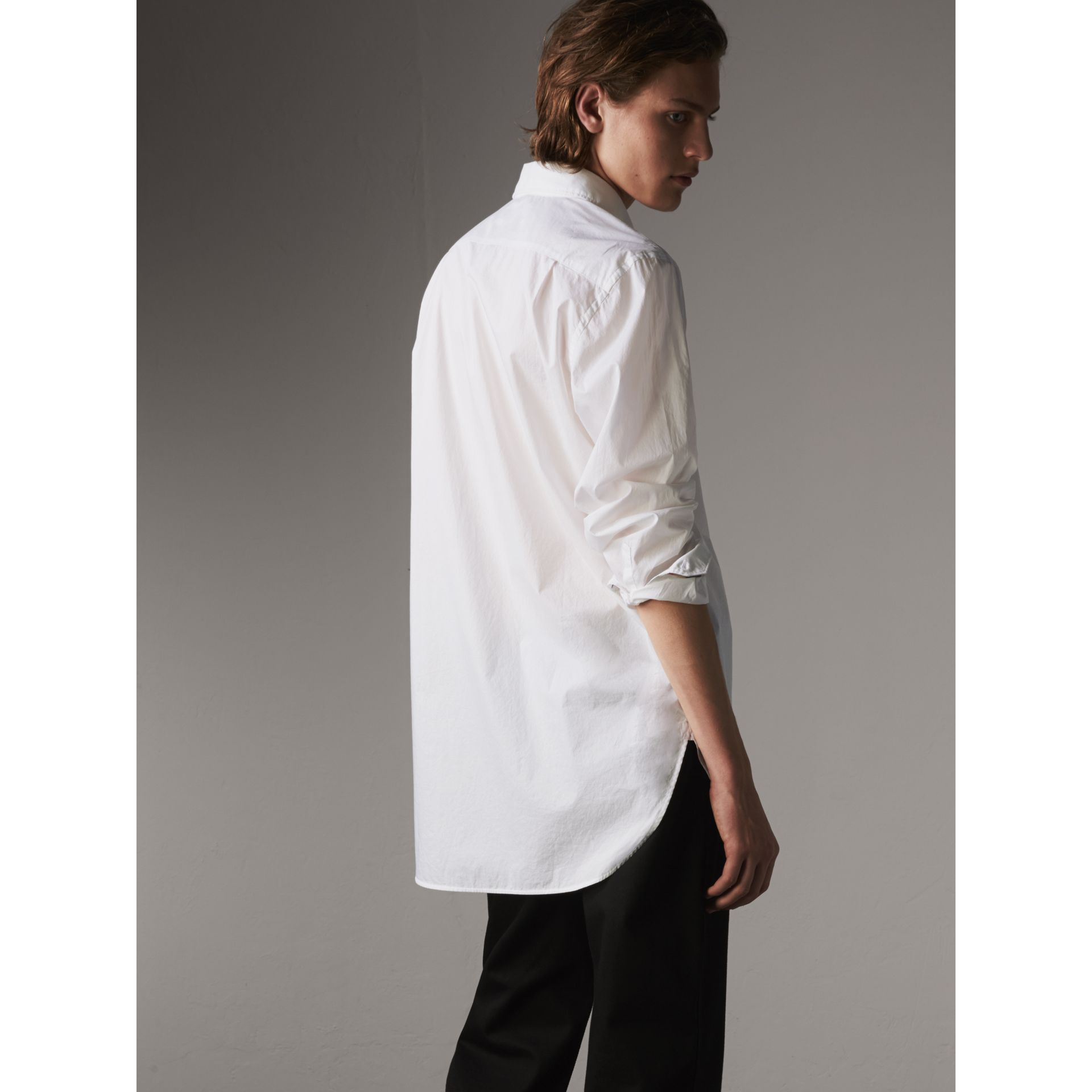 Japanese Cotton Poplin Shirt in White - Men | Burberry Canada - gallery image 3