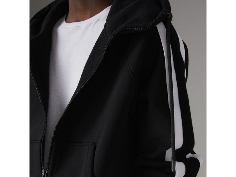 Stripe Detail Cotton Blend Jersey Hooded Top in Black - Men | Burberry United Kingdom - cell image 1