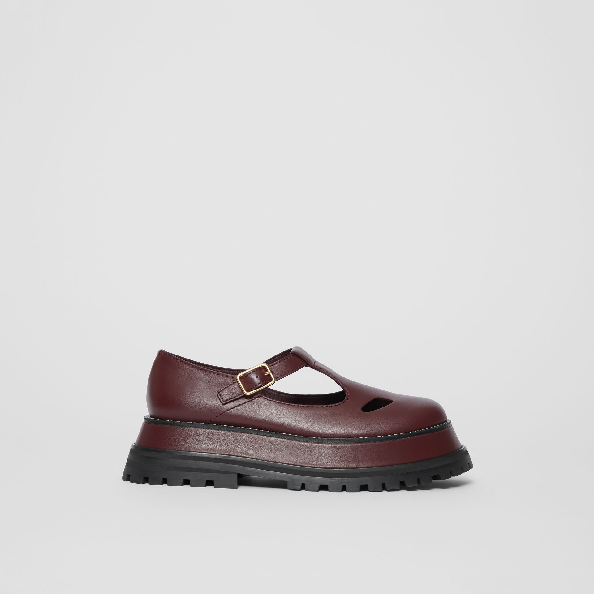 Leather T-bar Shoes in Bordeaux - Women | Burberry - gallery image 4